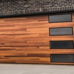 Modern Wooden and Glass Garage Door